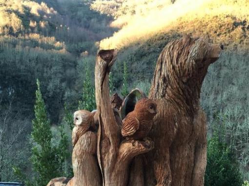 Composición de oso y buhos